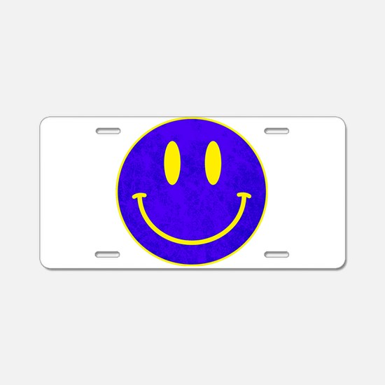 Happy FACE vintage blue Aluminum License Plate