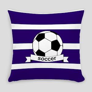 Soccer Ball Banner purple white Everyday Pillow