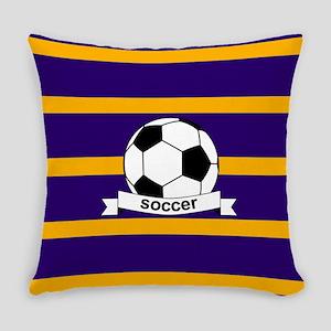 Soccer Ball Banner purple gold Everyday Pillow