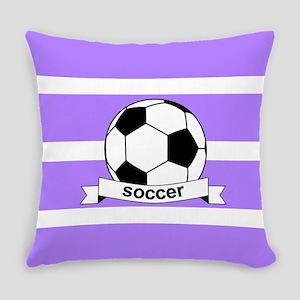 Soccer Ball Banner lavender white Everyday Pillow