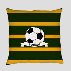 Soccer Ball Banner green gold Everyday Pillow