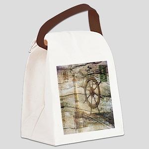 shabby chic beach lighthouse Canvas Lunch Bag