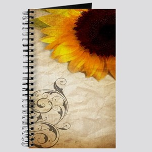 girly swirls floral sunflower Journal