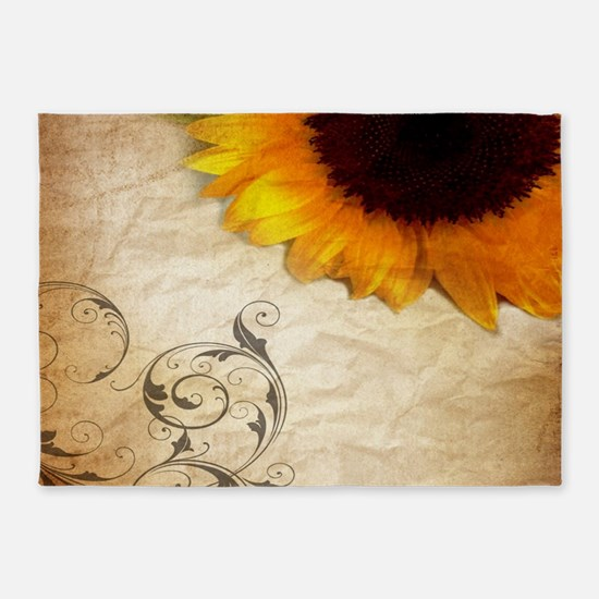 girly swirls floral sunflower 5'x7'Area Rug
