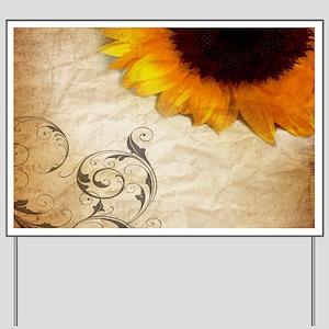 girly swirls floral sunflower Yard Sign