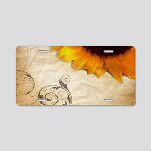 girly swirls floral sunflow Aluminum License Plate