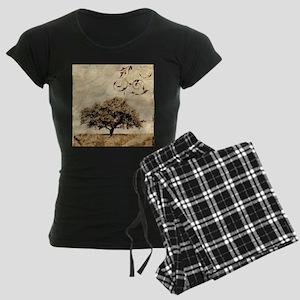 romantic landscape oak tree Women's Dark Pajamas