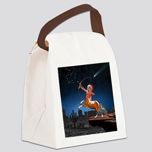 Native American Sagittarius Canvas Lunch Bag
