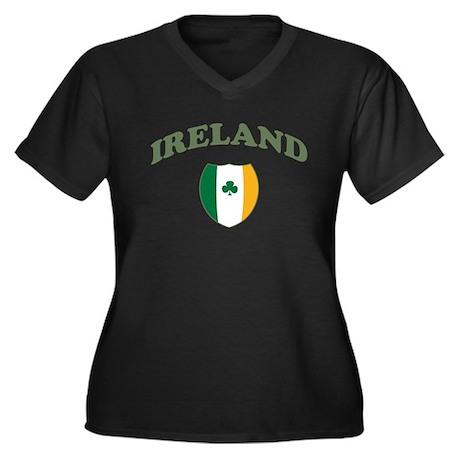 Ireland Sporty Logo Women's Plus Size V-Neck Dark