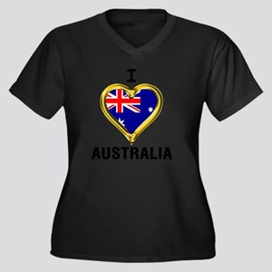 I HEART XX Women's Plus Size V-Neck Dark T-Shirt