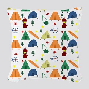 Camping Outdoors Woven Throw Pillow