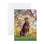Spring / Doberman Greeting Cards (Pk of 20)