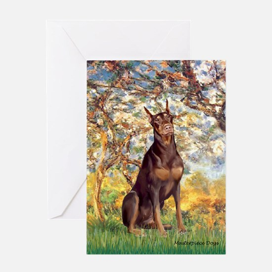 Spring / Doberman Greeting Card