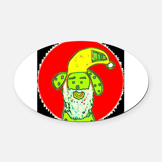 Santa Reinvented as a Dog Terrence Oval Car Magnet