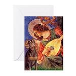 Mandolin Angel & Dobie Greeting Cards (Pk of 20)