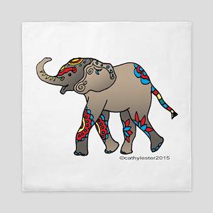 Zentangle Elephant Queen Duvet