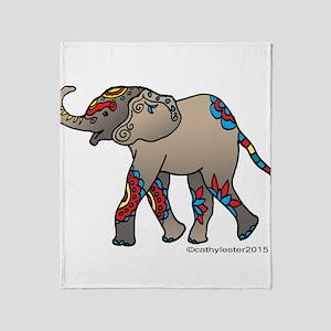Zentangle Elephant Throw Blanket