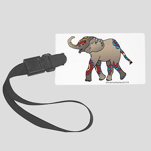 Zentangle Elephant Large Luggage Tag
