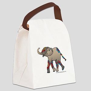 Zentangle Elephant Canvas Lunch Bag