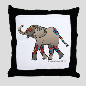 Zentangle Elephant Throw Pillow