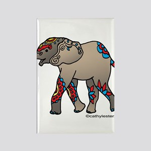Zentangle Elephant Rectangle Magnet