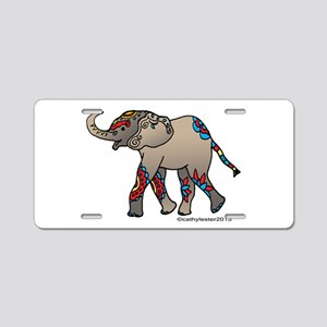 Zentangle Elephant Aluminum License Plate