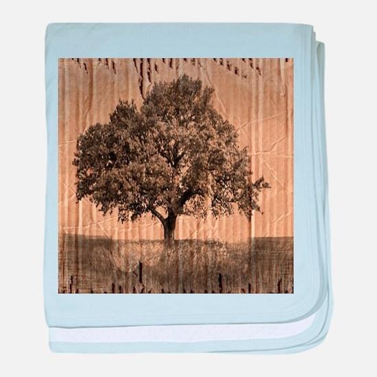 cardboard texture oak tree baby blanket