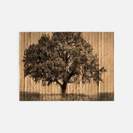 cardboard texture oak tree 5'x7'Area Rug