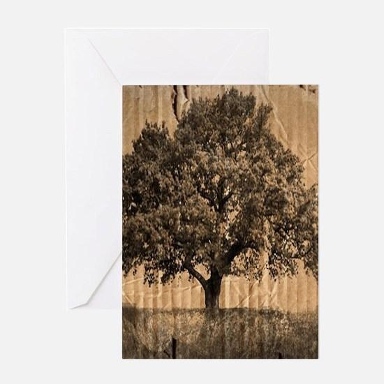 cardboard texture oak tree Greeting Cards