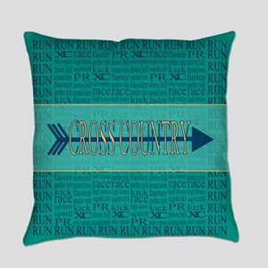 Cross Country Run Collage Blue Everyday Pillow