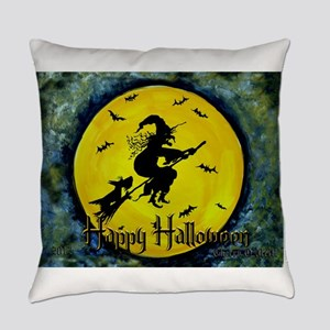 Scottie Witch Broom Everyday Pillow