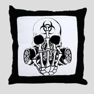 Biohazard Zombie Skull Fuck U Throw Pillow