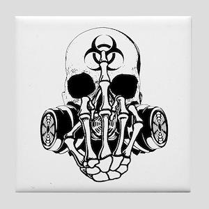 Biohazard Zombie Skull Fuck U Tile Coaster