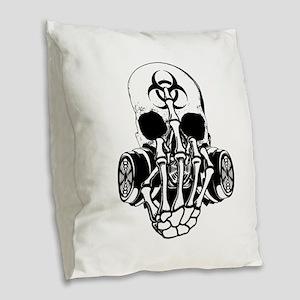 Biohazard Zombie Skull Fuck U Burlap Throw Pillow
