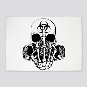 Biohazard Zombie Skull Fuck U 5'x7'Area Rug