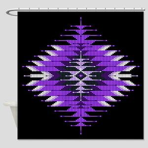 Native Style Purple Sunburst Shower Curtain