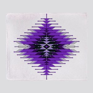 Native Style Purple Sunburst Throw Blanket