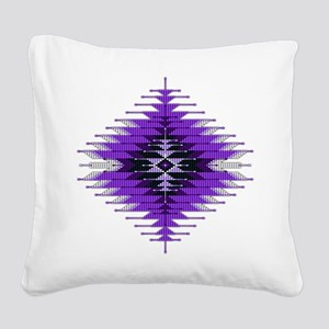 Native Style Purple Sunburst Square Canvas Pillow