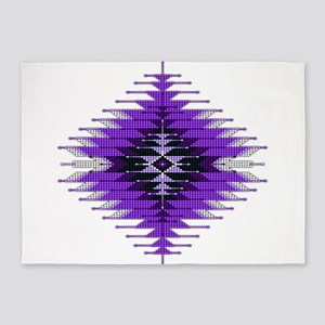 Native Style Purple Sunburst 5'x7'Area Rug