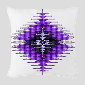 Native Style Purple Sunburst Woven Throw Pillow