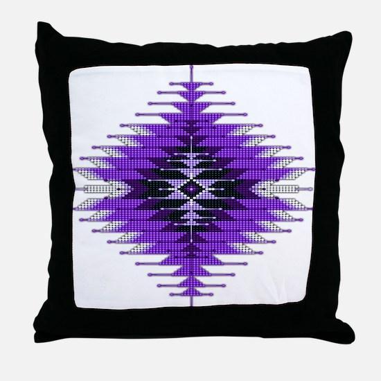 Native Style Purple Sunburst Throw Pillow