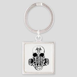 Biohazard Zombie Skull Fuck U Keychains