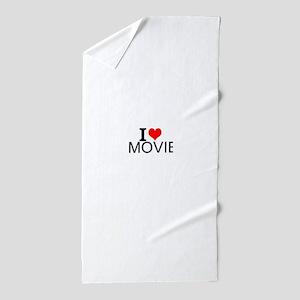 I Love Movies Beach Towel
