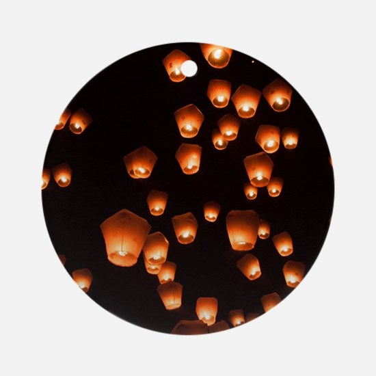 Sky Lanterns Round Ornament