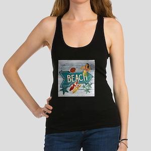 hipster surfer hawaii beach Racerback Tank Top