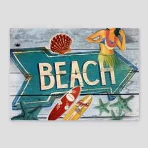 hipster surfer hawaii beach 5'x7'Area Rug