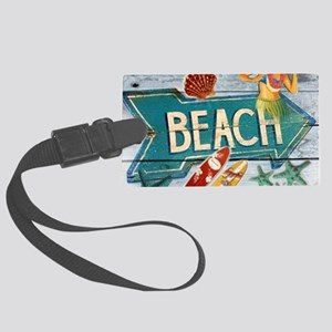 hipster surfer hawaii beach Large Luggage Tag