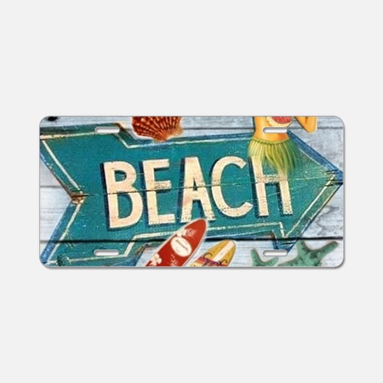 hipster surfer hawaii beach Aluminum License Plate