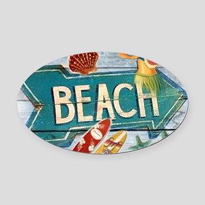 hipster surfer hawaii beach Oval Car Magnet