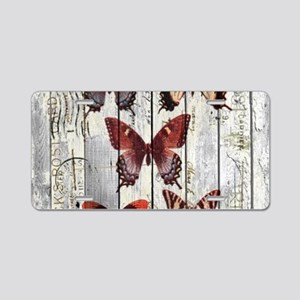 shabby chic french butterfl Aluminum License Plate